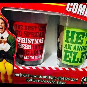 Christmas Elf Glassware and ice cube tray set